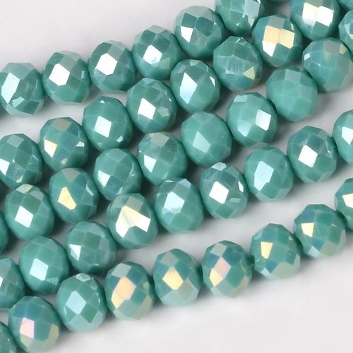 Faceted Beads Mermaid Green Shine 8x6mm, 30 pieces
