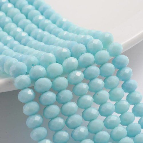 Faceted Beads Light Blue 8x6mm, 30 pieces