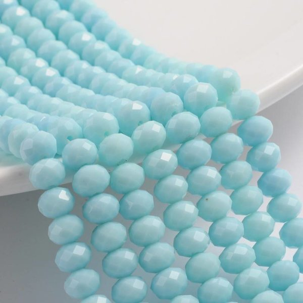 Faceted Glassbeads Light Blue 8x6mm, 10 pieces