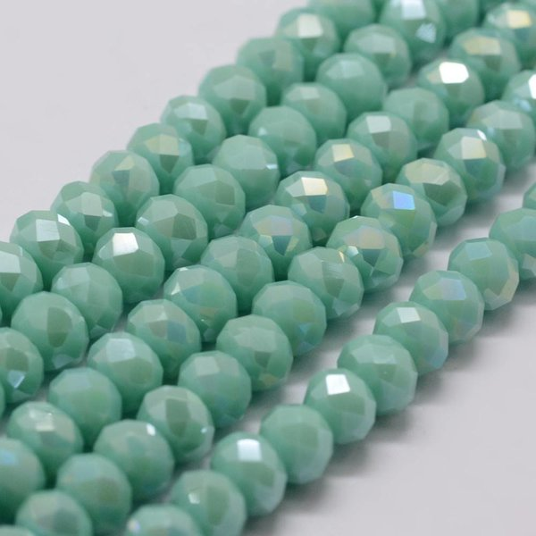Faceted Glassbeads Light Turquoise 6x4mm, 25 pieces