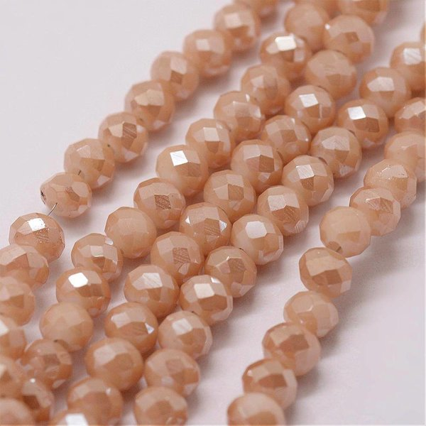 Faceted Glassbeads Rose Gold Shine 4x3mm, 40 pieces