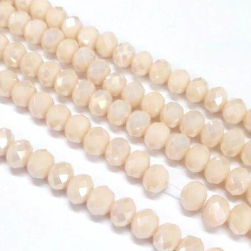 Faceted Beads Peach Shine 4x3mm, 80 pieces