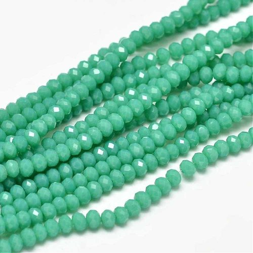 Faceted Beads Seagreen Shine 3x2mm, 40 pieces