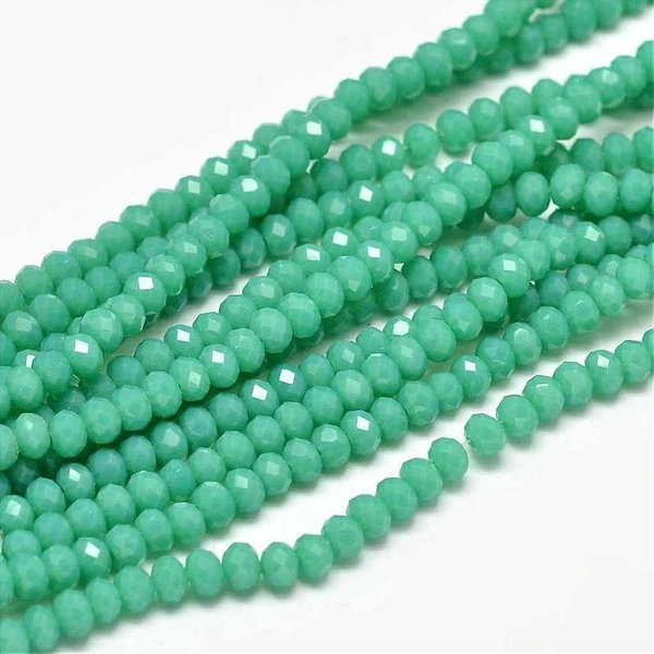 Faceted Glassbeads Seagreen Shine 3x2mm, 80 pieces