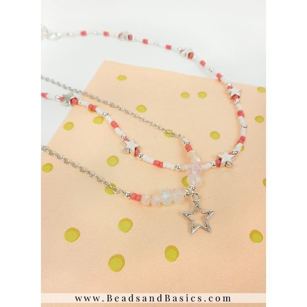 Star Charm Necklace With Facetglassbeads And Rocailles