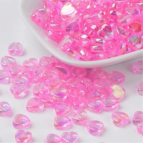 15 pieces Heart Beads Light Pink 8x3mm