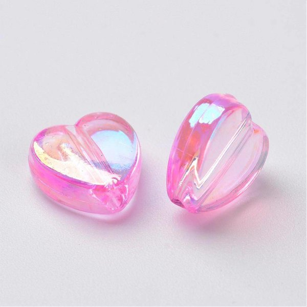 15 pieces Heart Beads Light Pink 8x3mm