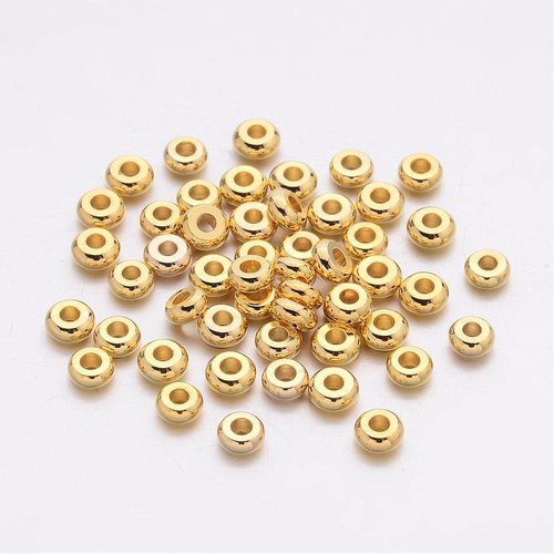 Spacer Beads Goud Rondelle 4x2mm, 20 stuks