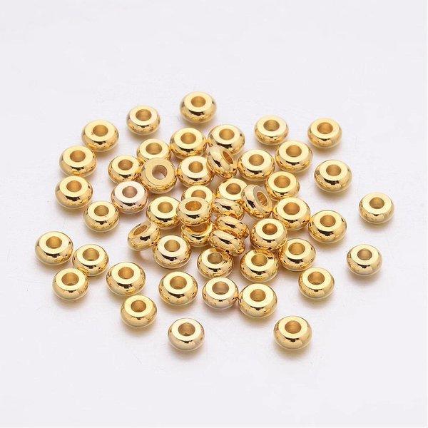 Spacer Beads Goud Rondelle 4x2mm, 20 stuks