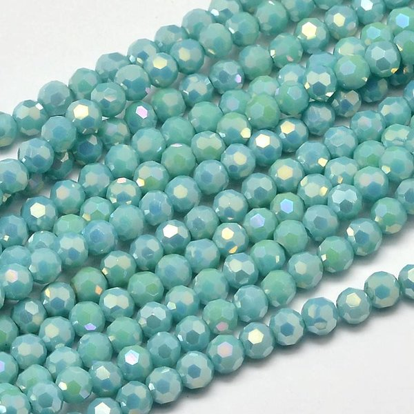 Round Faceted Beads Turquoise Shine 4mm, 25 pieces