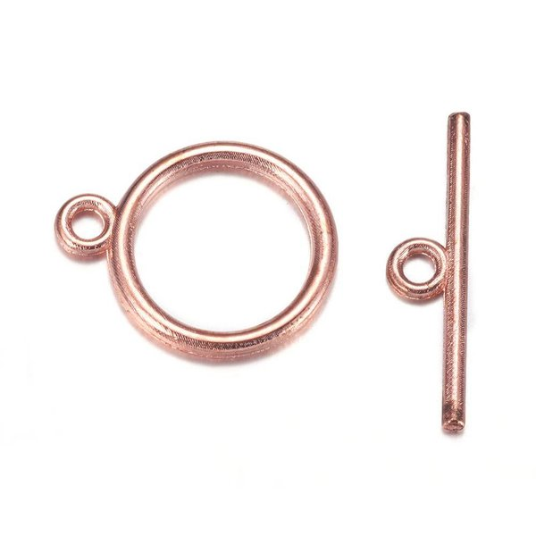 Toggle Clasp Rose Gold  Nickel Free 15mm, 4 sets