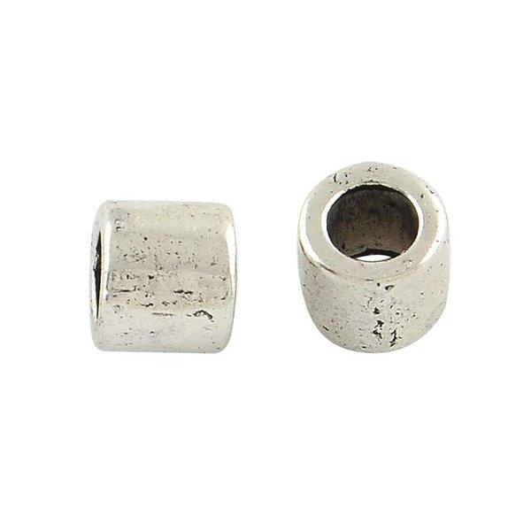 Metalen Kralen Zilver 5x4mm voor 3mm Koord, 20 stuks