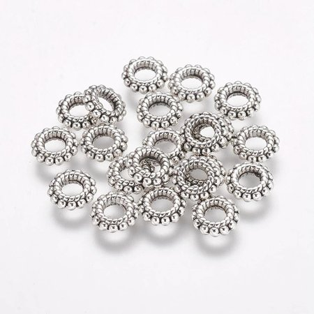 Tibetaanse Donut Kralen Zilver 8x2mm, 20 stuks