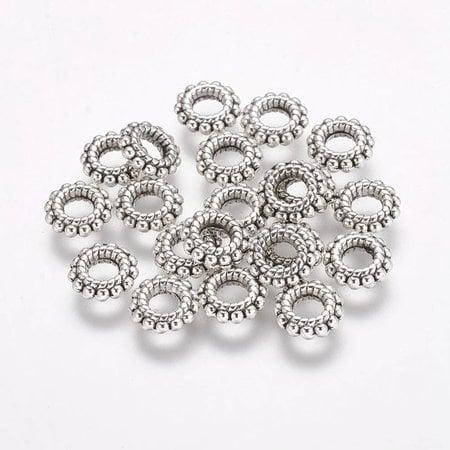 Tibetan Donut Beads Zilver 8x2mm, 20 pieces