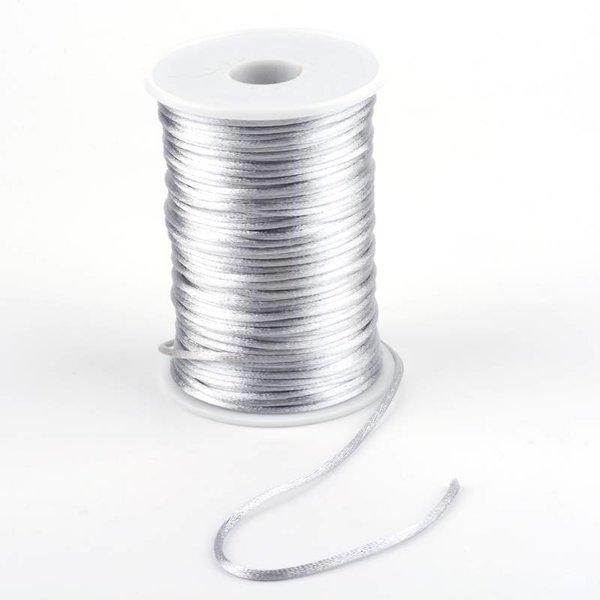 Satijnkoord Zilver 2mm, 3 meter