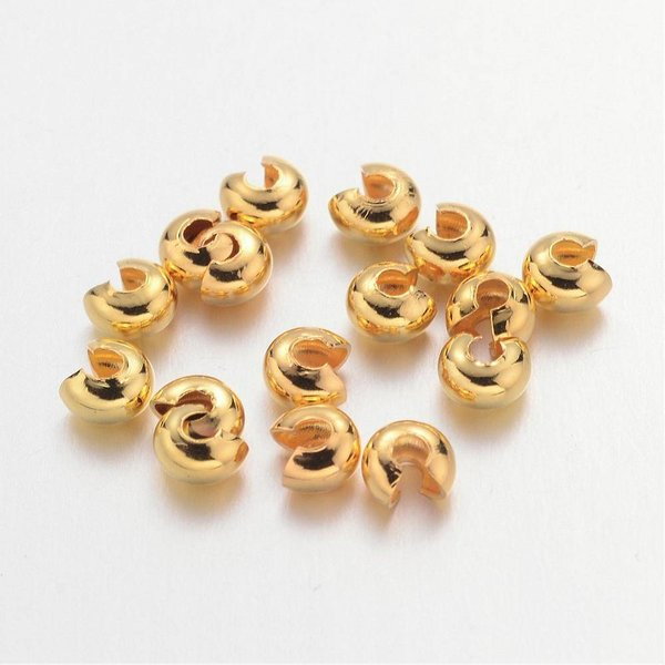 Crimp Beads Covers Gold 3mm Nickel Free, 25 pieces