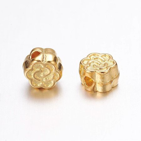 Tibetan Beads Golden Flower 5mm, 20 pieces