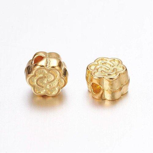 Tibetan Beads Golden Flower 5mm, 20 pieces