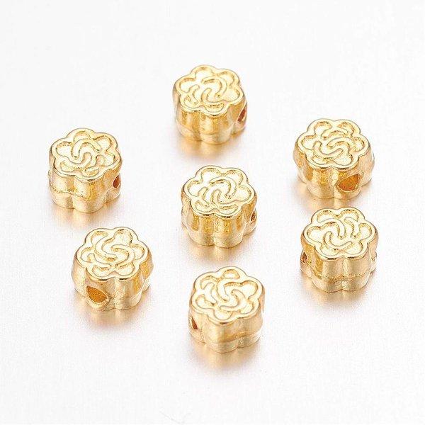 Gouden Bloem Kraal 5mm, 20 stuks