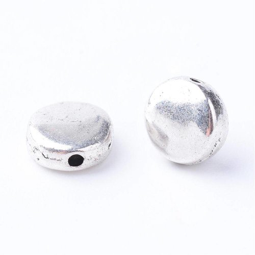 Flat Silver Beads 7mm, 20 pieces