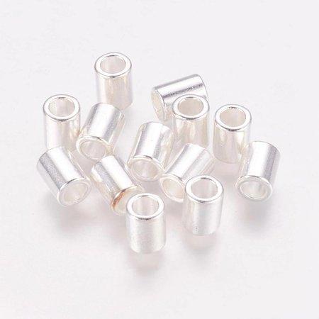 Tube Kralen Zilver voor 4mm Koord, 10 stuks