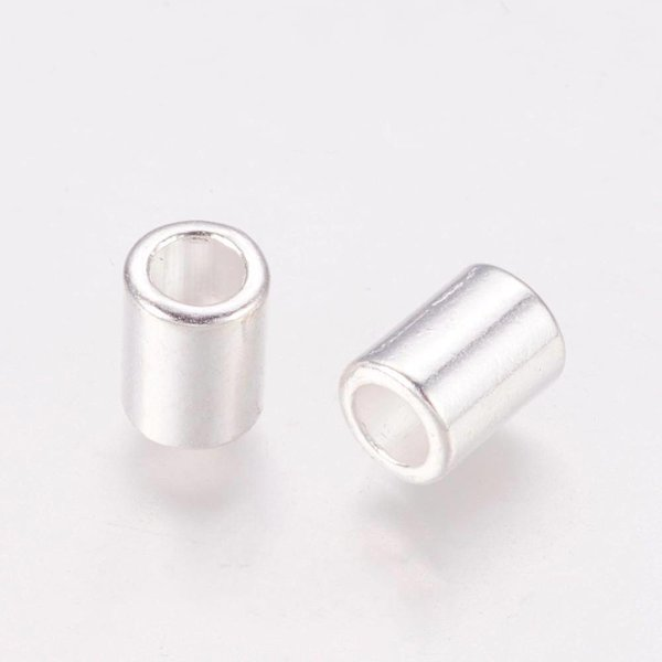 Tube Beads Silver 8x6mm Nickel Free fits 4mm Cord, 10 pieces
