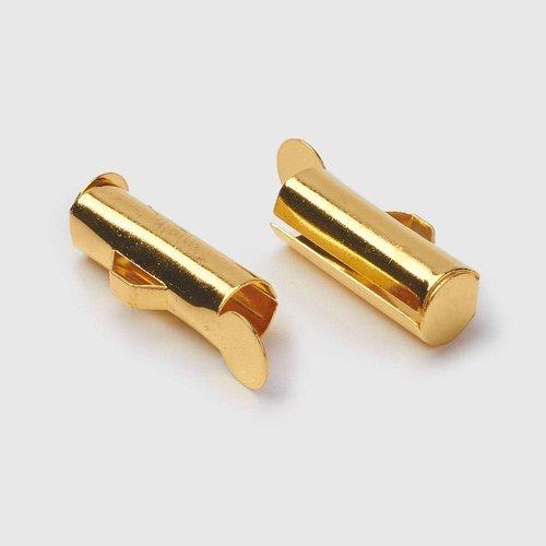 Eindkap voor Weefarmbandje Goud 13mm, 6 stuks