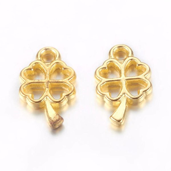 Clover Charm Gold 10x6mm, 10 pieces