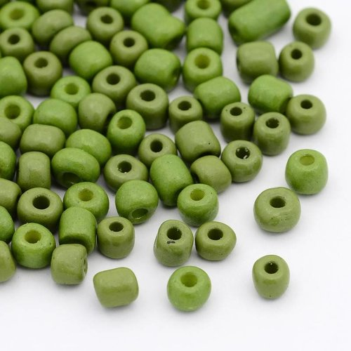 Seed Beads Olive Green 4mm, 20 gram