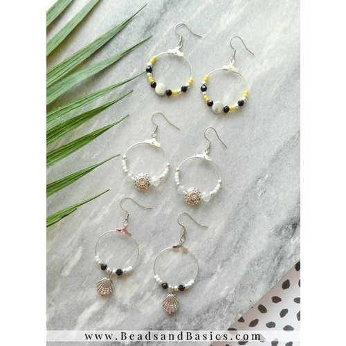 Trendy Hoop Earrings With Rocailles Beads - Black With White And Yellow