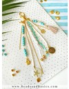 Keychain With Beads And Charms - Gold With Turquoise