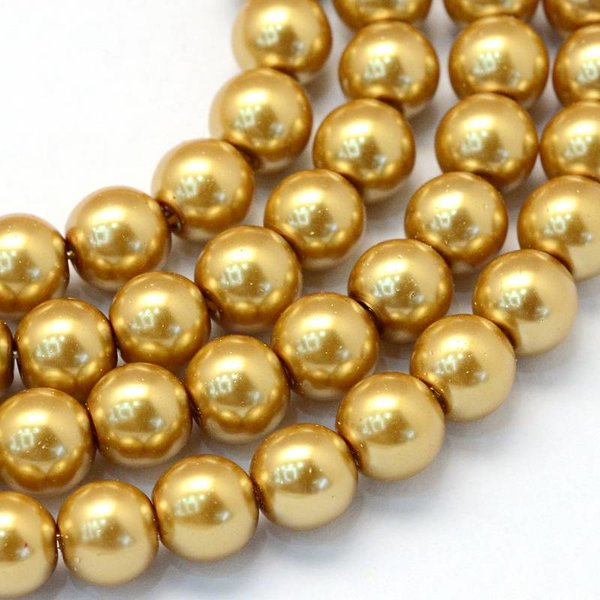 Glassbeads Golden 6mm, 80 pieces
