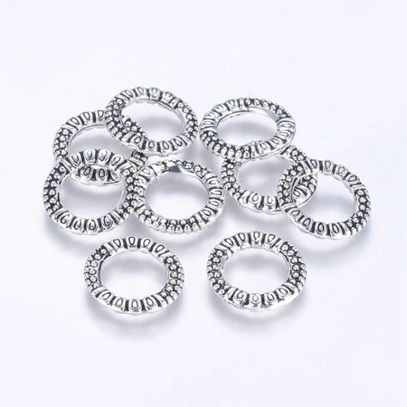 Tibetan Linking Rings Silver 17mm, 5 pieces