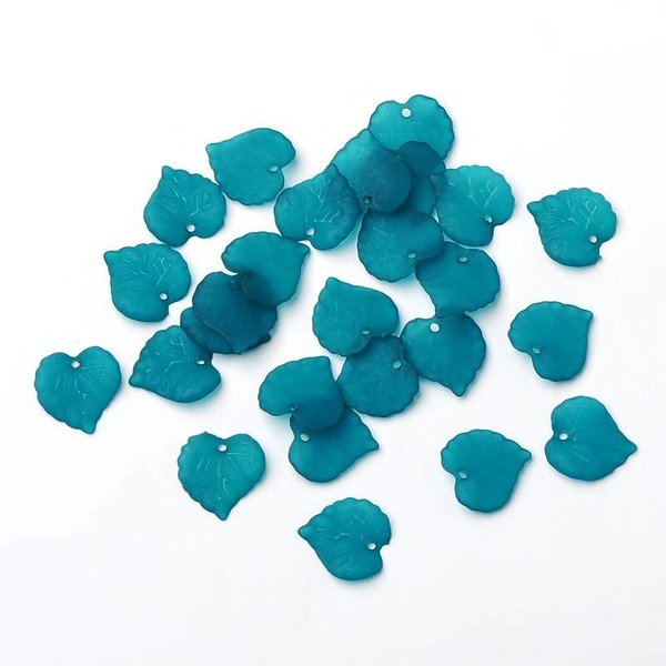 Acrylic Leaf Charm Dark Turquoise 15mm, 10 pieces