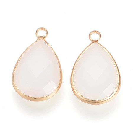2 pieces Glass Drop Pendants Gold Offwhite 18x10mm