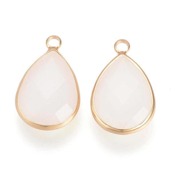 Glass Drop Pendants Faceted Gold Offwhite 18x10mm