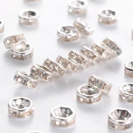 10 pcs Rhinestone Beads Rondelle 6mm