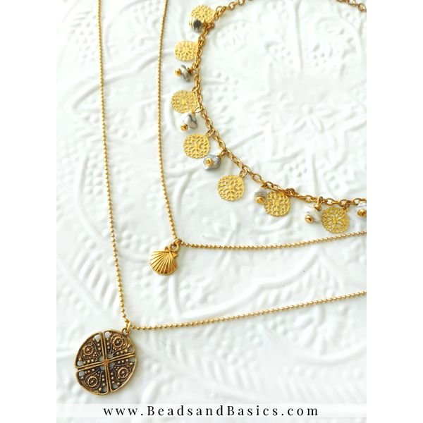 Howlite Natural Stone Beads Necklace With Gold Coin Charms  - 3 Layers