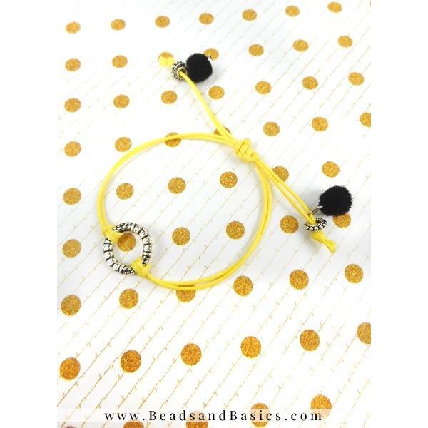 Bij Bedeltjes Armband Van Rocailles Kralen En Waxkoord - Geel, Zwart Met Wit
