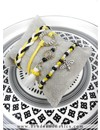 Bee Charm Bracelet From Rocailles Beads And Waxcord -Yellow, Black And White