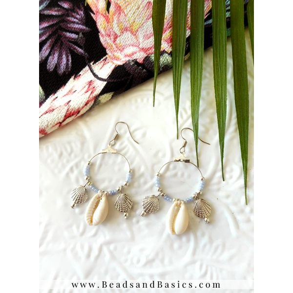 Silver Hoop Earrings With Shell Beads