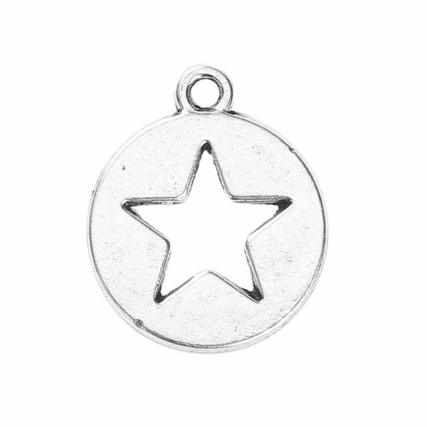 Silver Charm with Open Star 17x14mm, 5 pieces