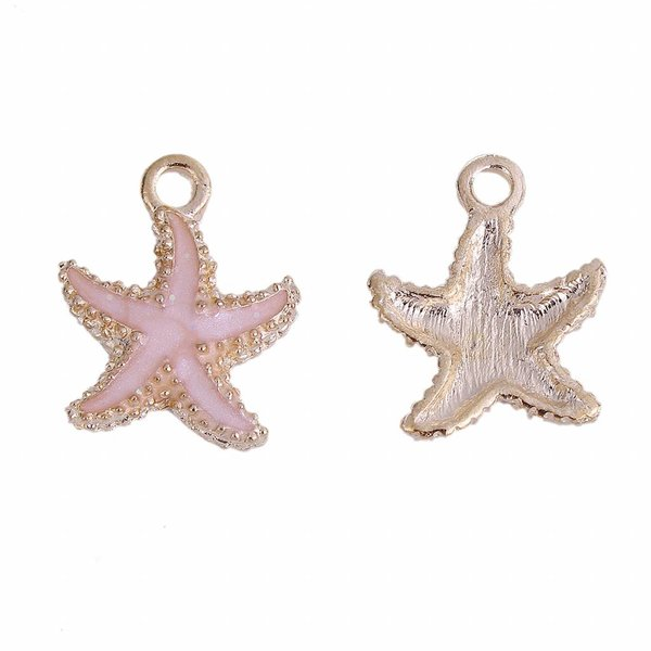 Enamel Starfish Charm Gold and Pink 18x15mm, 3 pieces