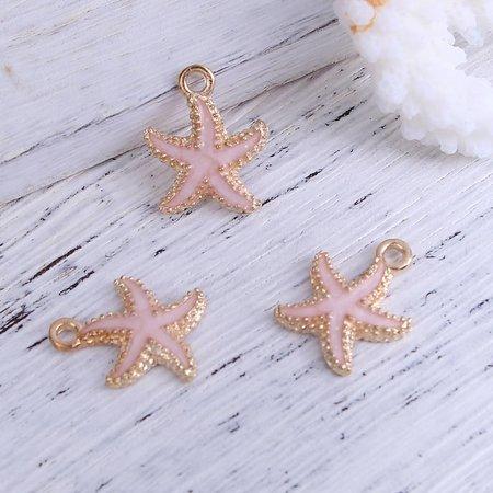Starfish Charm Pink 18x15mm, 3 pieces