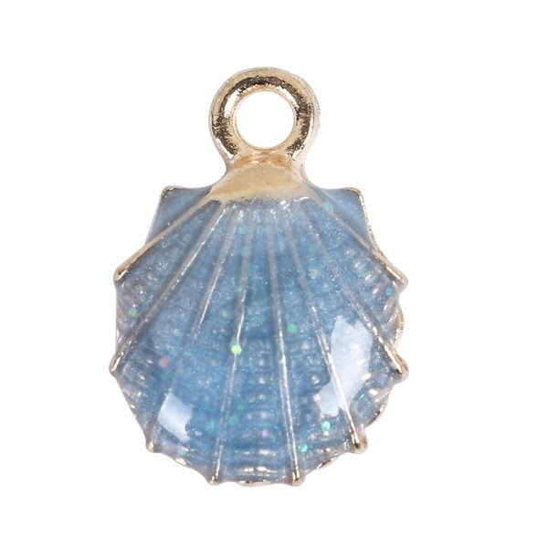 Enamel Shell Charm Blue 19x13mm, 3 pieces