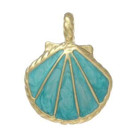 Enamel Shell Charm Gold with Turquoise 25x20mm