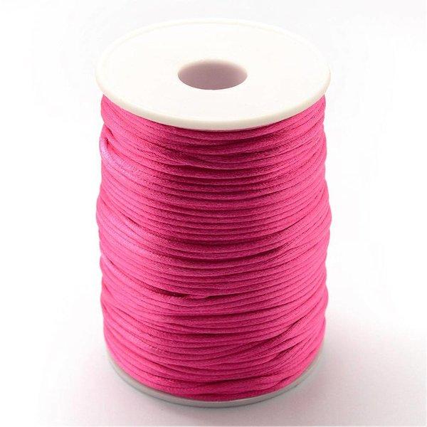Satin Cord Fuchsia Pink 2mm, 3 meter