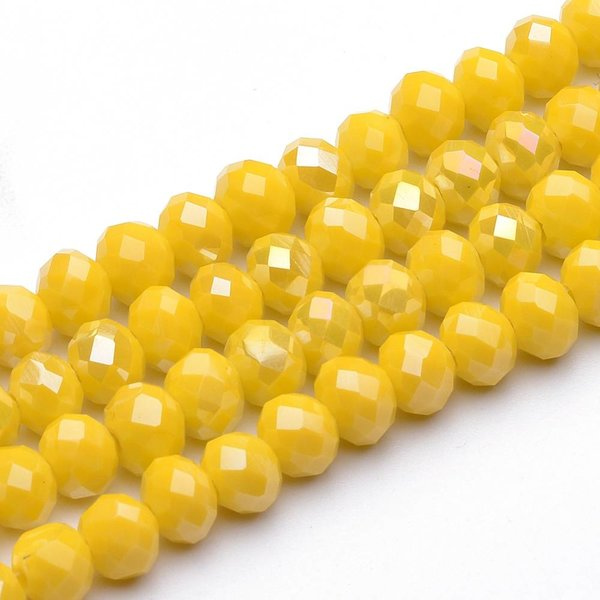 Facet Glass Beads Yellow Shine 6x4mm, 50 pieces