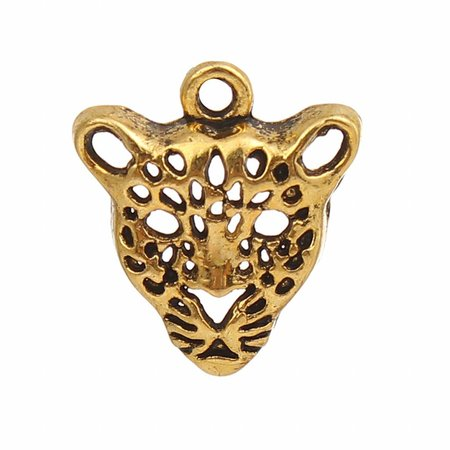 Leopard Charm Gold 20x18mm, 3 pieces