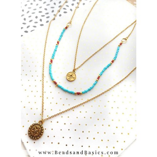 Golden Necklace With Coin Charms And Blue With Red Beads